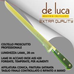 """COLTELLO PROSCIUTTO PROFESSIONALE """" DE LUCA """" FORGIATO MANICO POM"""